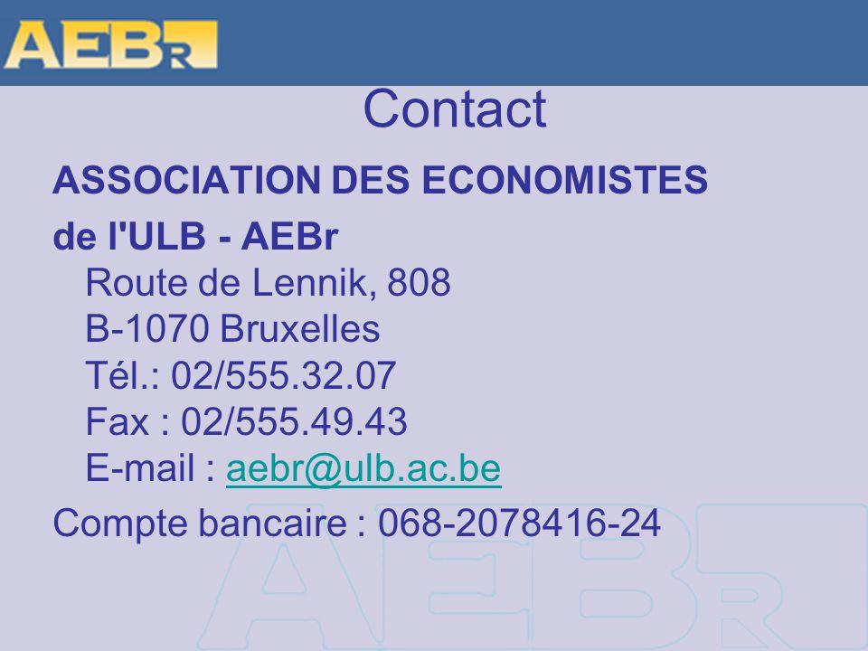 Contact ASSOCIATION DES ECONOMISTES de l ULB - AEBr Route de Lennik, 808 B-1070 Bruxelles Tél.: 02/555.32.07 Fax : 02/555.49.43 E-mail : aebr@ulb.ac.beaebr@ulb.ac.be Compte bancaire : 068-2078416-24