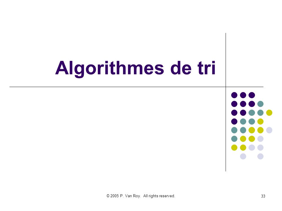 © 2005 P. Van Roy. All rights reserved. 33 Algorithmes de tri