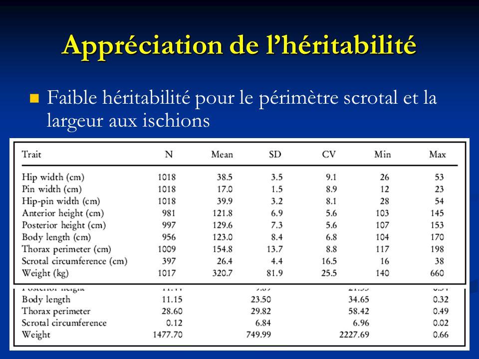 Appréciation de lhéritabilité Faible héritabilité pour le périmètre scrotal et la largeur aux ischions Héritabilité moyenne a haute pour les autres pa