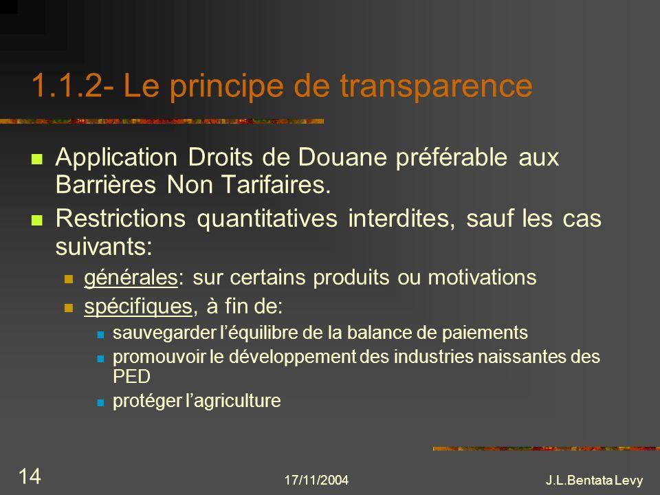 17/11/2004J.L.Bentata Levy 14 1.1.2- Le principe de transparence Application Droits de Douane préférable aux Barrières Non Tarifaires. Restrictions qu