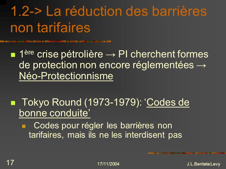 17/11/2004J.L.Bentata Levy 17 1.2-> La réduction des barrières non tarifaires 1 ère crise pétrolière PI cherchent formes de protection non encore régl
