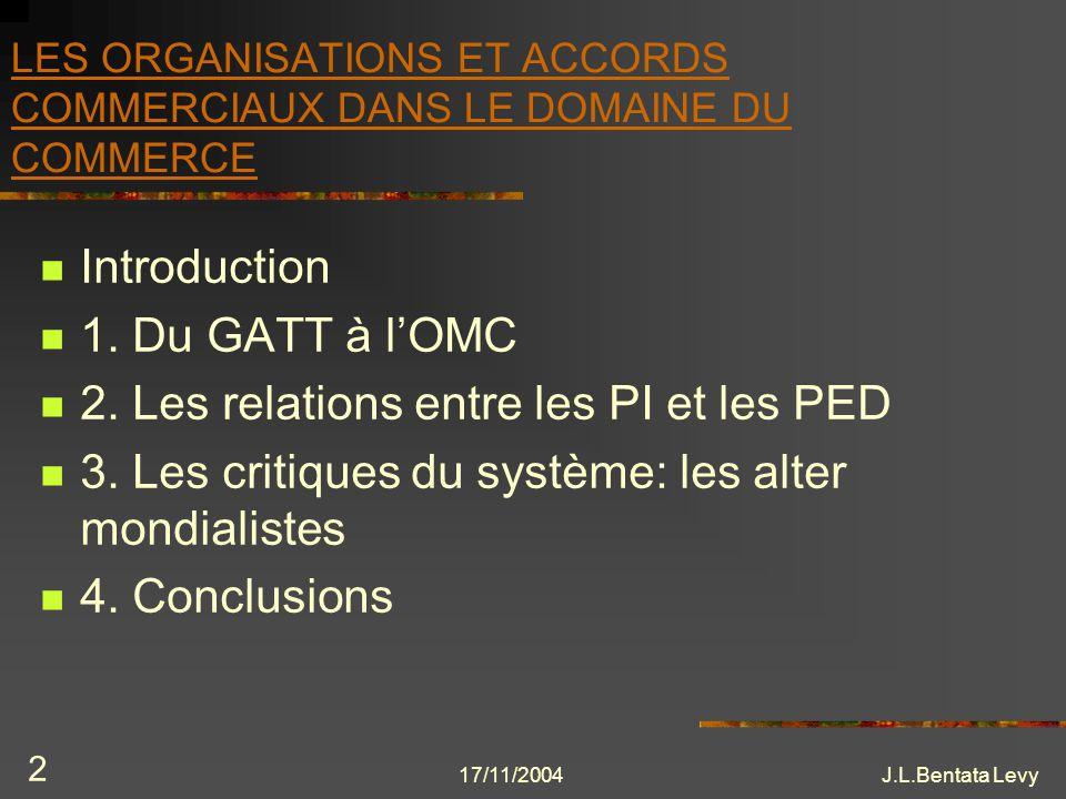 17/11/2004J.L.Bentata Levy 43 1.4- LOMC Cancun: Devait mettre sur pied les négociations de Doha Résultat: Echec de la conférence entre autre dû à limmobilisme de certains pays (USA) pour les TRIPs et la Santé Publique