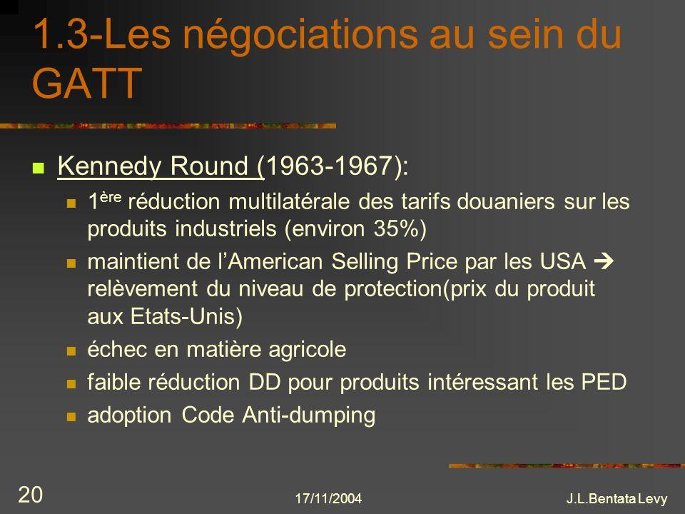 17/11/2004J.L.Bentata Levy 20 1.3-Les négociations au sein du GATT Kennedy Round (1963-1967): 1 ère réduction multilatérale des tarifs douaniers sur l