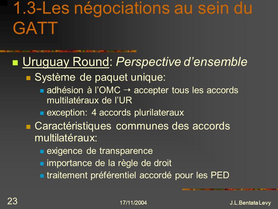 17/11/2004J.L.Bentata Levy 23 1.3-Les négociations au sein du GATT Uruguay Round: Perspective densemble Système de paquet unique: adhésion à lOMC acce