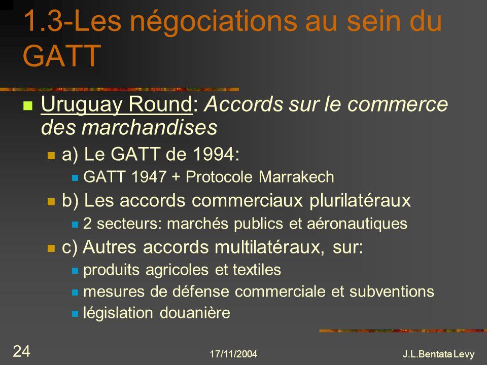 17/11/2004J.L.Bentata Levy 24 1.3-Les négociations au sein du GATT Uruguay Round: Accords sur le commerce des marchandises a) Le GATT de 1994: GATT 19