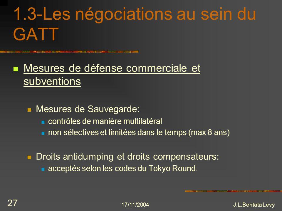 17/11/2004J.L.Bentata Levy 27 1.3-Les négociations au sein du GATT Mesures de défense commerciale et subventions Mesures de Sauvegarde: contrôles de m
