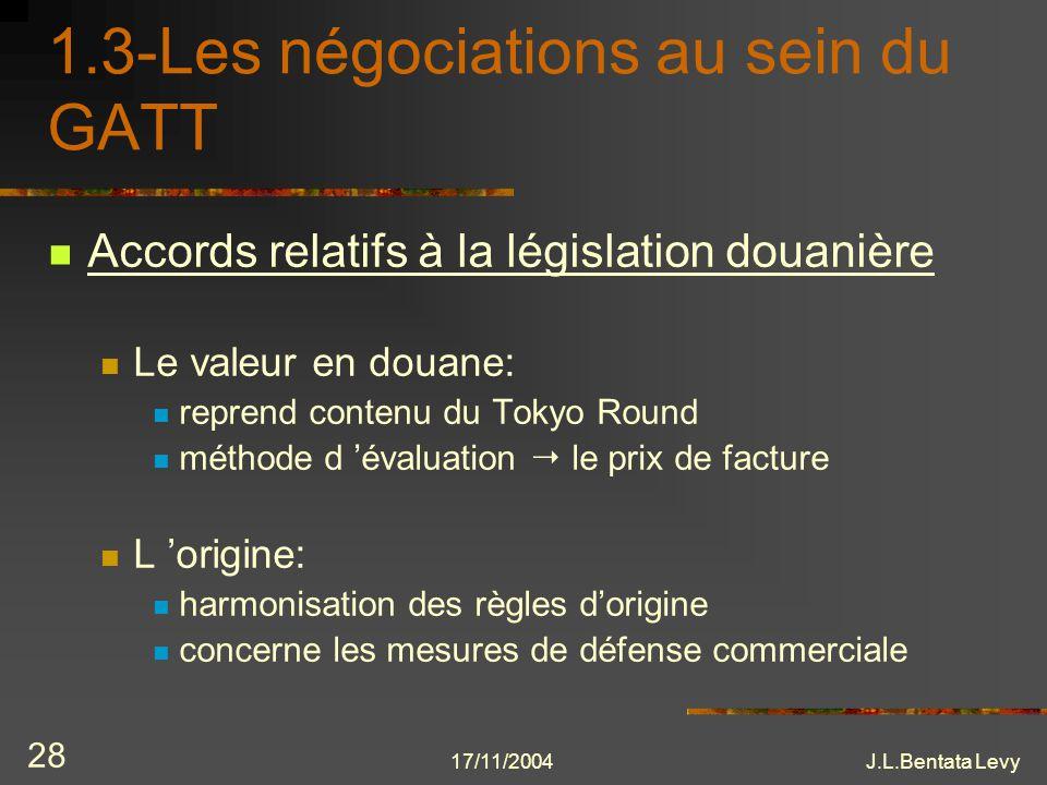 17/11/2004J.L.Bentata Levy 28 1.3-Les négociations au sein du GATT Accords relatifs à la législation douanière Le valeur en douane: reprend contenu du