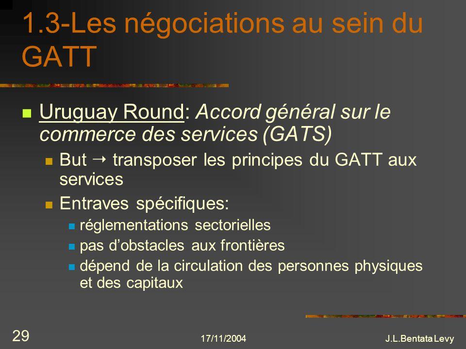 17/11/2004J.L.Bentata Levy 29 1.3-Les négociations au sein du GATT Uruguay Round: Accord général sur le commerce des services (GATS) But transposer le