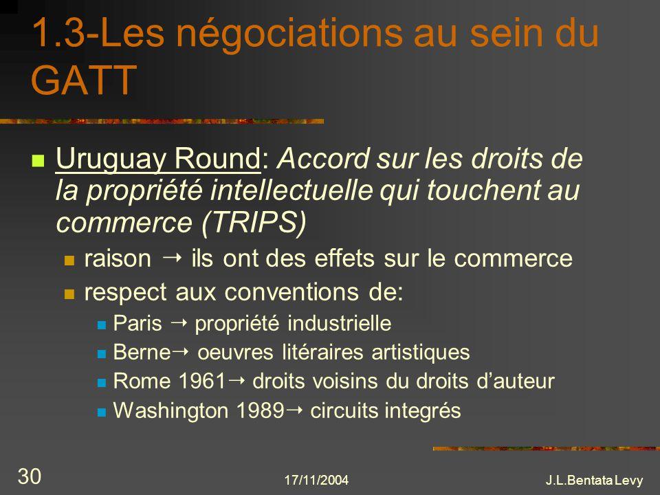 17/11/2004J.L.Bentata Levy 30 1.3-Les négociations au sein du GATT Uruguay Round: Accord sur les droits de la propriété intellectuelle qui touchent au