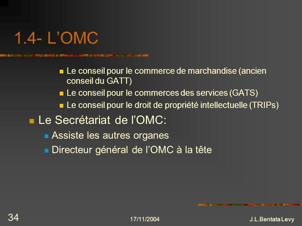 17/11/2004J.L.Bentata Levy 34 1.4- LOMC Le conseil pour le commerce de marchandise (ancien conseil du GATT) Le conseil pour le commerces des services