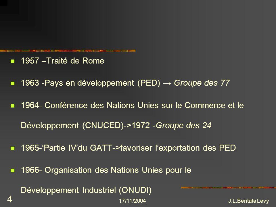 17/11/2004J.L.Bentata Levy 5 Réaction GATT: recommandations pour favoriser exportations des PED (manufactures) mécanismes préférentiels: Système Généralisé de Préférences (SGP) CEE.