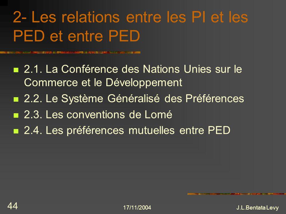 17/11/2004J.L.Bentata Levy 44 2- Les relations entre les PI et les PED et entre PED 2.1. La Conférence des Nations Unies sur le Commerce et le Dévelop