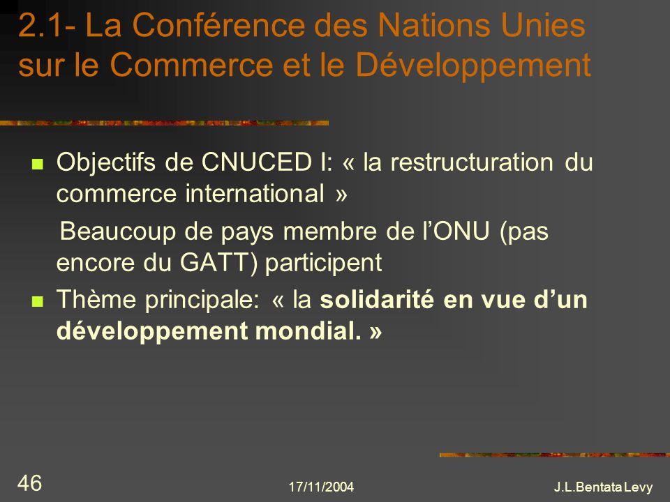 17/11/2004J.L.Bentata Levy 46 2.1- La Conférence des Nations Unies sur le Commerce et le Développement Objectifs de CNUCED I: « la restructuration du