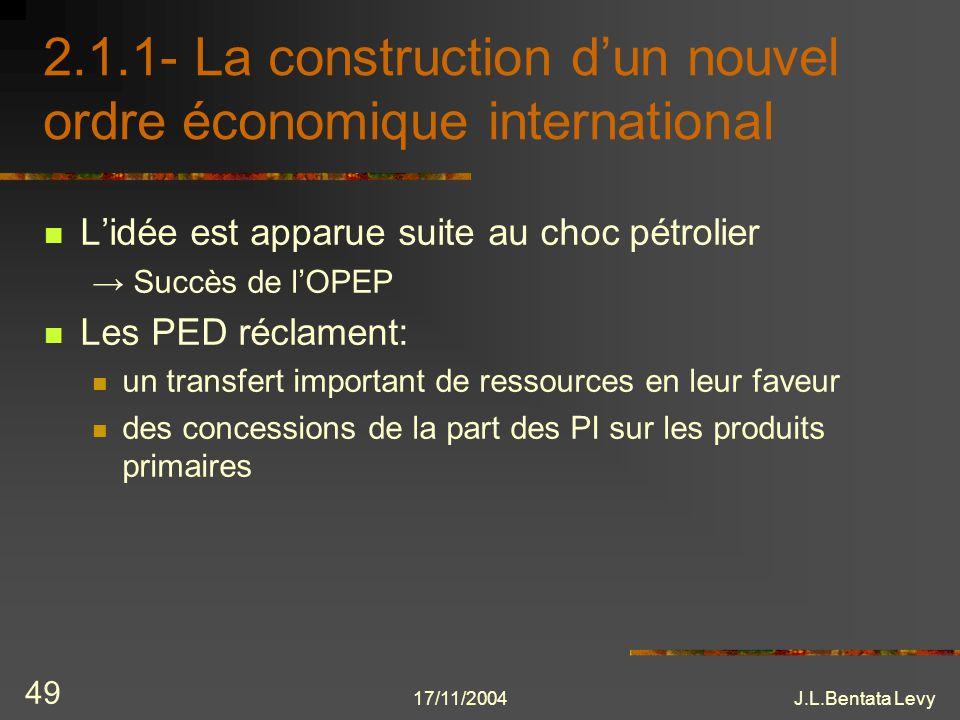17/11/2004J.L.Bentata Levy 49 2.1.1- La construction dun nouvel ordre économique international Lidée est apparue suite au choc pétrolier Succès de lOP