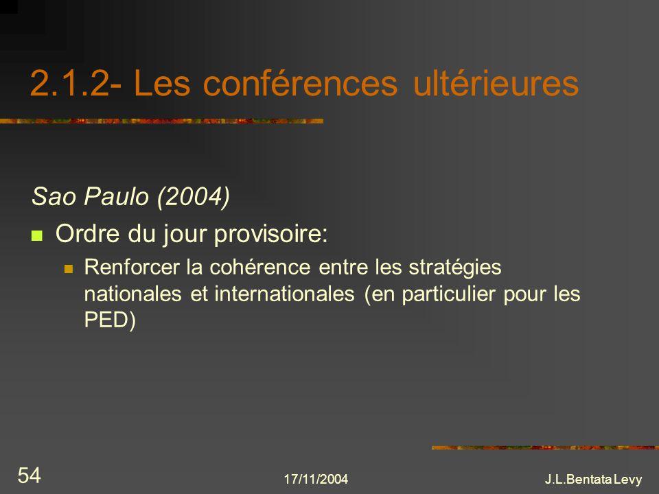 17/11/2004J.L.Bentata Levy 54 2.1.2- Les conférences ultérieures Sao Paulo (2004) Ordre du jour provisoire: Renforcer la cohérence entre les stratégie