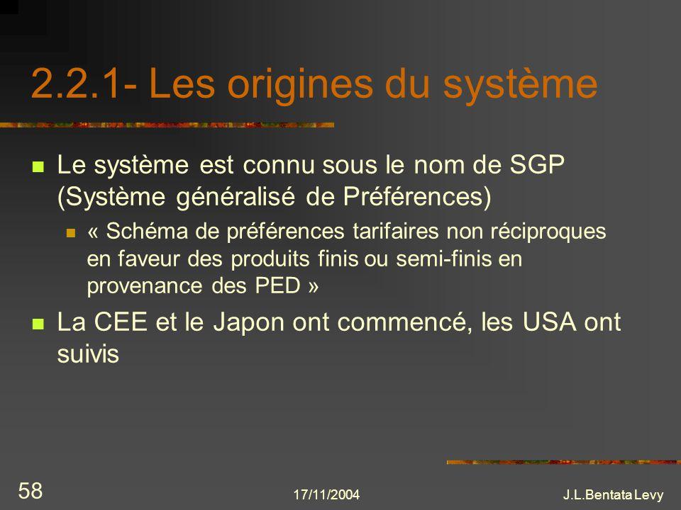 17/11/2004J.L.Bentata Levy 58 2.2.1- Les origines du système Le système est connu sous le nom de SGP (Système généralisé de Préférences) « Schéma de p
