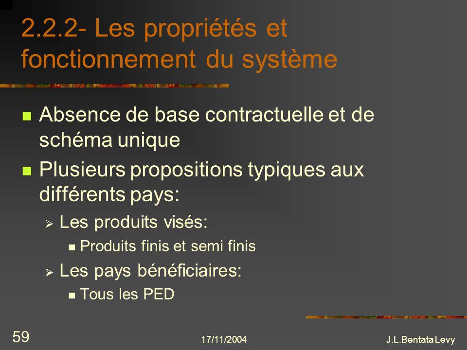 17/11/2004J.L.Bentata Levy 59 2.2.2- Les propriétés et fonctionnement du système Absence de base contractuelle et de schéma unique Plusieurs propositi