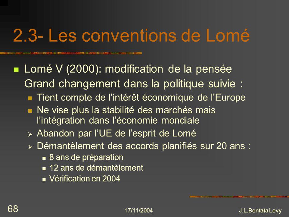 17/11/2004J.L.Bentata Levy 68 2.3- Les conventions de Lomé Lomé V (2000): modification de la pensée Grand changement dans la politique suivie : Tient