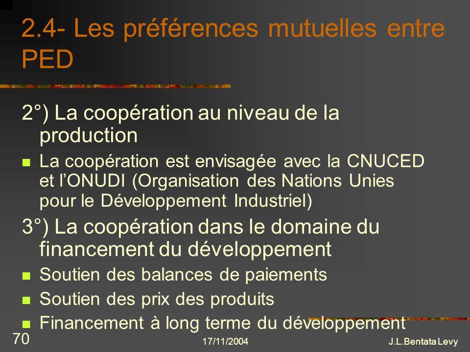17/11/2004J.L.Bentata Levy 70 2.4- Les préférences mutuelles entre PED 2°) La coopération au niveau de la production La coopération est envisagée avec
