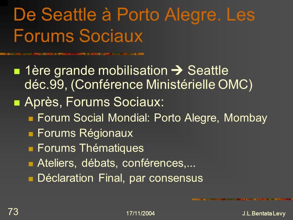 17/11/2004J.L.Bentata Levy 73 De Seattle à Porto Alegre. Les Forums Sociaux 1ère grande mobilisation Seattle déc.99, (Conférence Ministérielle OMC) Ap