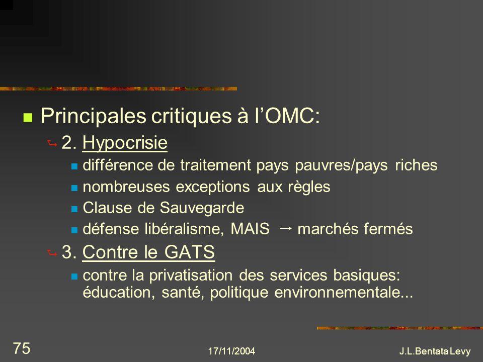 17/11/2004J.L.Bentata Levy 75 Principales critiques à lOMC: 2. Hypocrisie différence de traitement pays pauvres/pays riches nombreuses exceptions aux