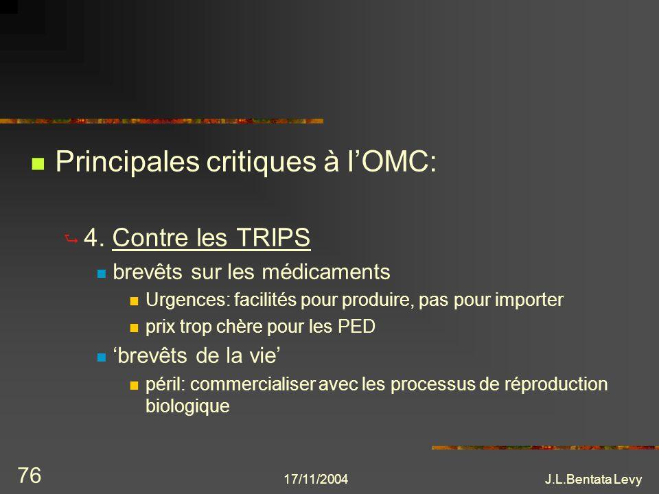 17/11/2004J.L.Bentata Levy 76 Principales critiques à lOMC: 4. Contre les TRIPS brevêts sur les médicaments Urgences: facilités pour produire, pas pou