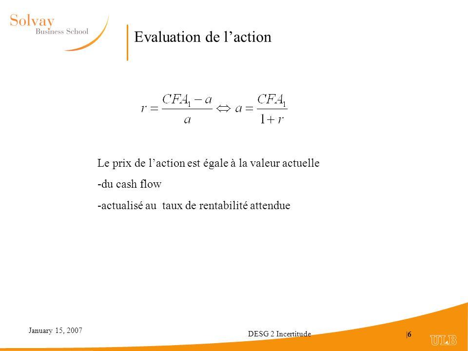 January 15, 2007 DESG 2 Incertitude |6 Evaluation de laction Le prix de laction est égale à la valeur actuelle -du cash flow -actualisé au taux de rentabilité attendue