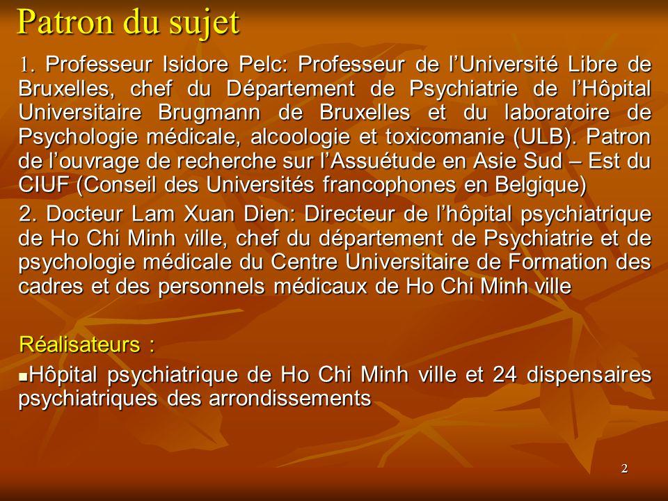 2 Patron du sujet 1. Professeur Isidore Pelc: Professeur de lUniversité Libre de Bruxelles, chef du Département de Psychiatrie de lHôpital Universitai