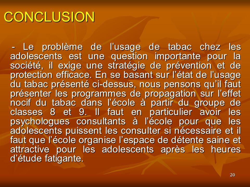 20 CONCLUSION - Le problème de lusage de tabac chez les adolescents est une question importante pour la société, il exige une stratégie de prévention