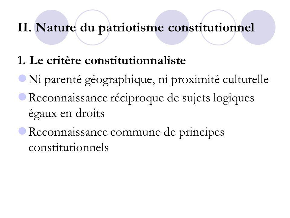 II. Nature du patriotisme constitutionnel 1. Le critère constitutionnaliste Ni parenté géographique, ni proximité culturelle Reconnaissance réciproque