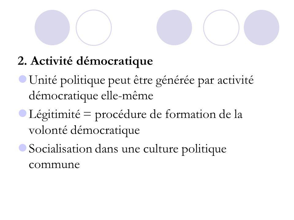 2. Activité démocratique Unité politique peut être générée par activité démocratique elle-même Légitimité = procédure de formation de la volonté démoc