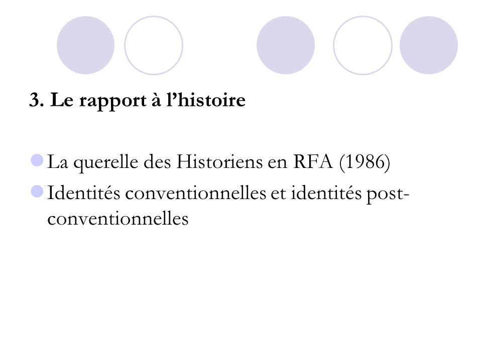 3. Le rapport à lhistoire La querelle des Historiens en RFA (1986) Identités conventionnelles et identités post- conventionnelles