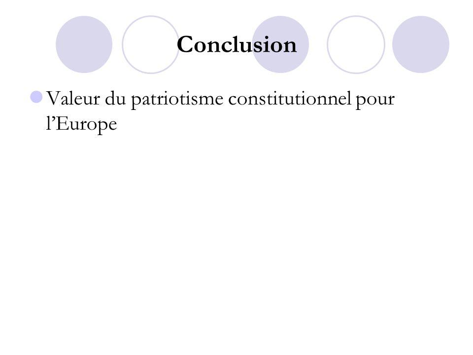 Conclusion Valeur du patriotisme constitutionnel pour lEurope