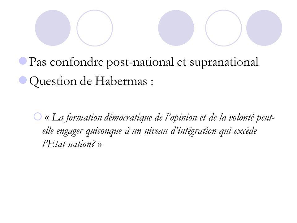 Pas confondre post-national et supranational Question de Habermas : « La formation démocratique de lopinion et de la volonté peut- elle engager quicon