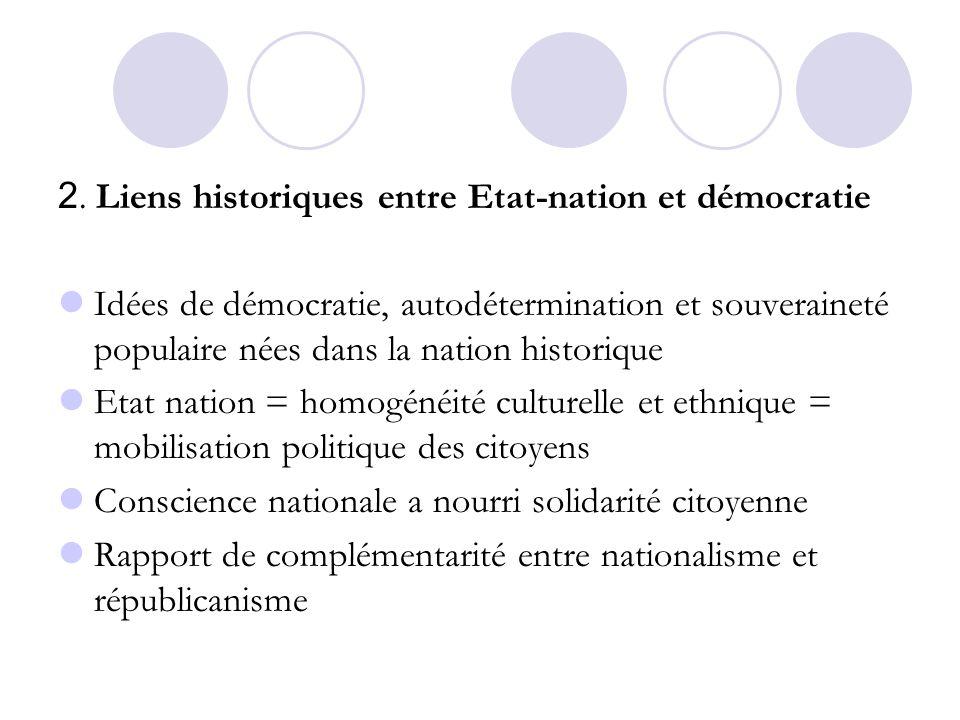 2. Liens historiques entre Etat-nation et démocratie Idées de démocratie, autodétermination et souveraineté populaire nées dans la nation historique E