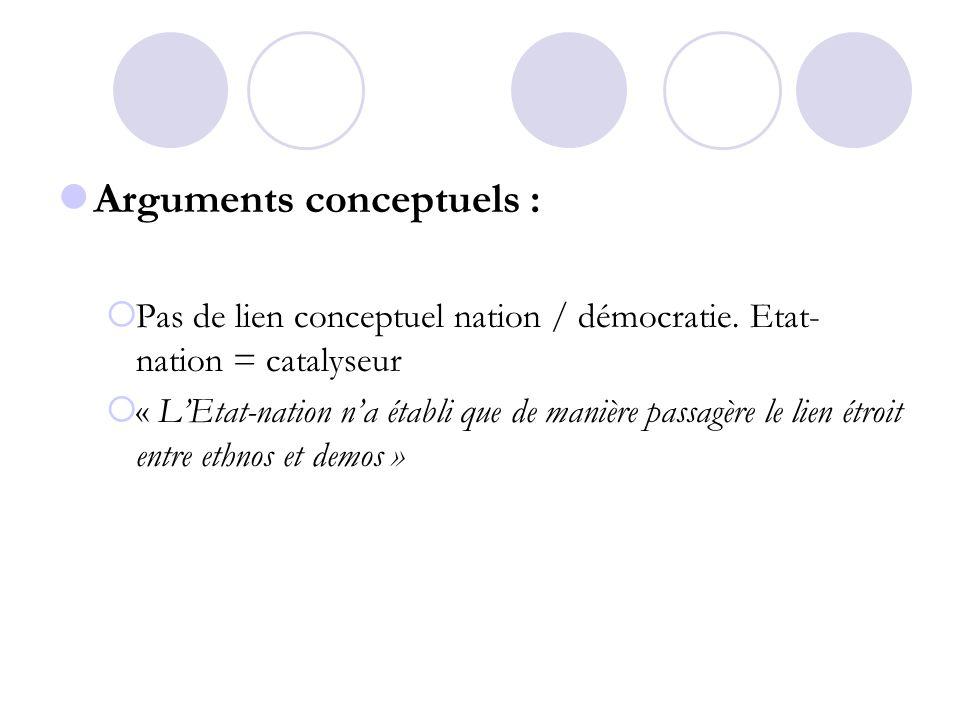 Arguments conceptuels : Pas de lien conceptuel nation / démocratie. Etat- nation = catalyseur « LEtat-nation na établi que de manière passagère le lie
