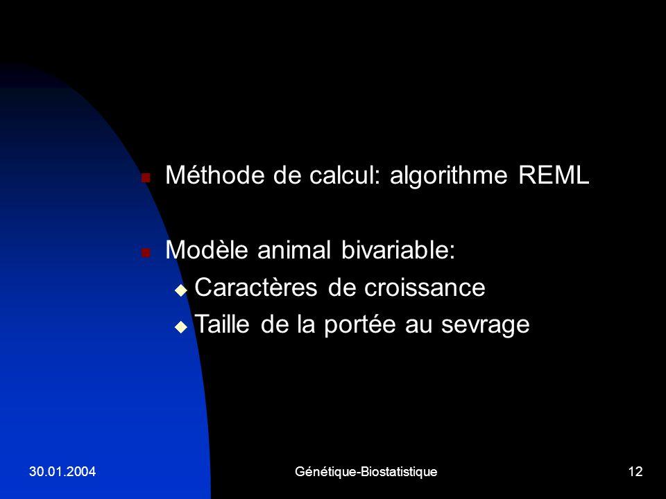 30.01.2004Génétique-Biostatistique12 Méthode de calcul: algorithme REML Modèle animal bivariable: Caractères de croissance Taille de la portée au sevr