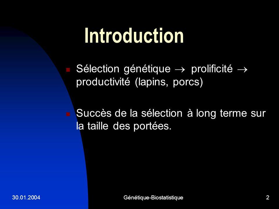 30.01.2004Génétique-Biostatistique3 But de létude: montrer si il y a eu des réponses corrélées sur différents caractères de croissance quand lobjet de la sélection était la taille de la portée.(Cf.