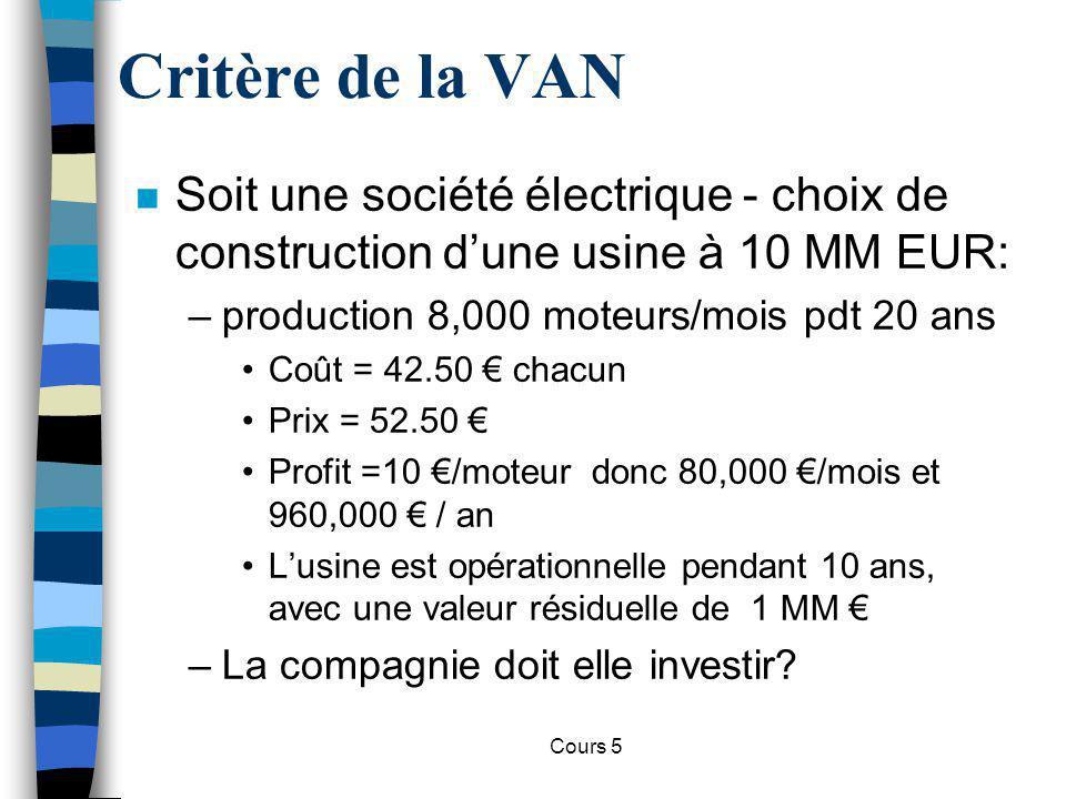 Cours 5 n Soit une société électrique - choix de construction dune usine à 10 MM EUR: –production 8,000 moteurs/mois pdt 20 ans Coût = 42.50 chacun Pr