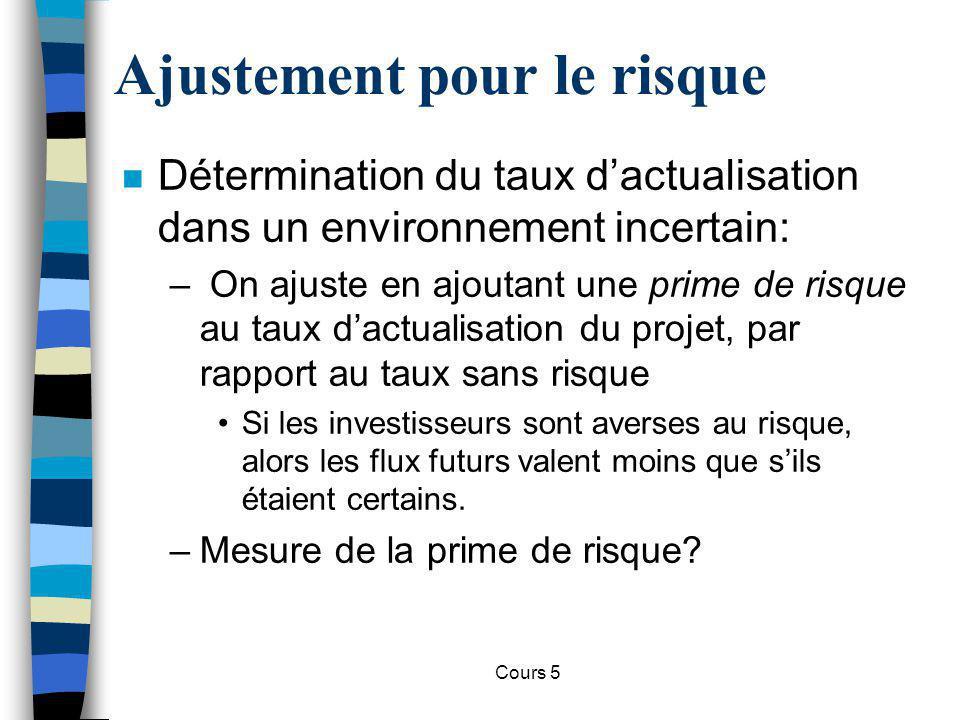 Cours 5 Ajustement pour le risque n Détermination du taux dactualisation dans un environnement incertain: – On ajuste en ajoutant une prime de risque