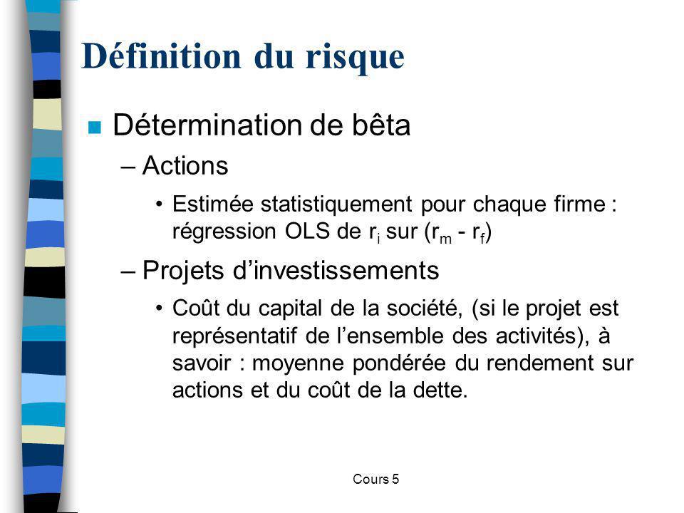 Cours 5 Définition du risque n Détermination de bêta –Actions Estimée statistiquement pour chaque firme : régression OLS de r i sur (r m - r f ) –Proj