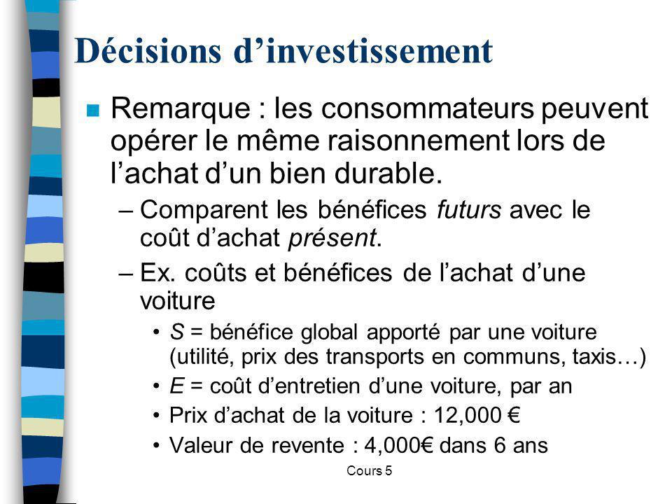 Cours 5 Décisions dinvestissement n Remarque : les consommateurs peuvent opérer le même raisonnement lors de lachat dun bien durable. –Comparent les b