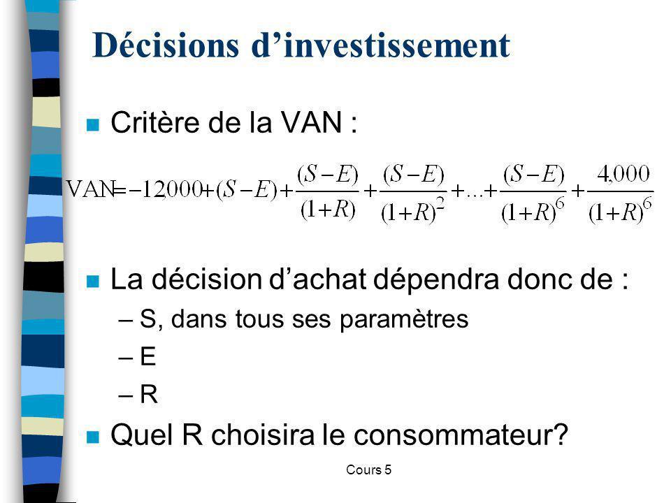 Cours 5 n Critère de la VAN : Décisions dinvestissement n La décision dachat dépendra donc de : –S, dans tous ses paramètres –E –R n Quel R choisira l