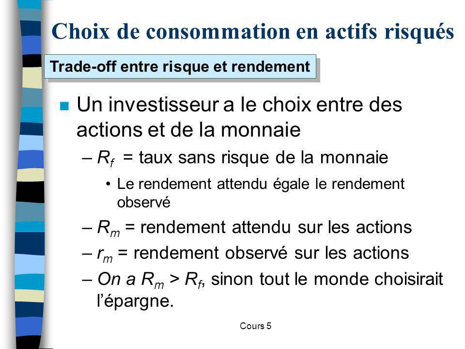 Cours 5 Choix de consommation en actifs risqués n Un investisseur a le choix entre des actions et de la monnaie –R f = taux sans risque de la monnaie