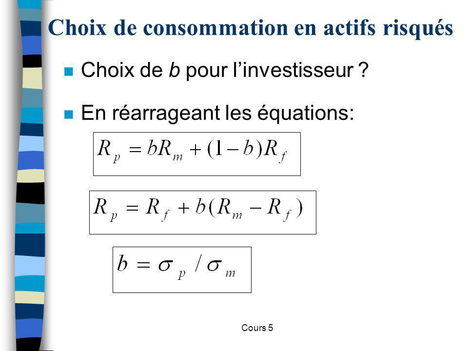 Cours 5 Choix de consommation en actifs risqués n Choix de b pour linvestisseur ? n En réarrageant les équations: m