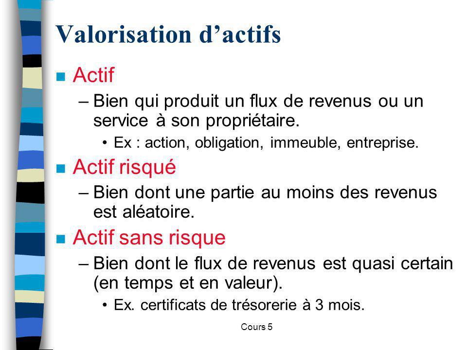 Cours 5 n Actif –Bien qui produit un flux de revenus ou un service à son propriétaire. Ex : action, obligation, immeuble, entreprise. n Actif risqué –