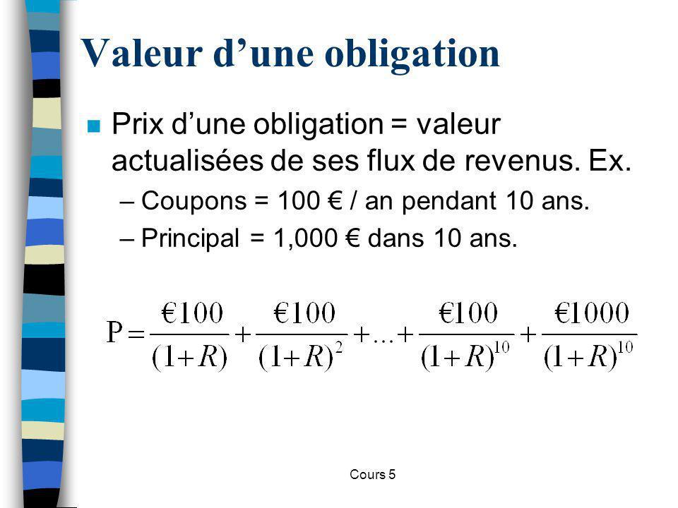 Cours 5 Valeur dune obligation n Prix dune obligation = valeur actualisées de ses flux de revenus. Ex. –Coupons = 100 / an pendant 10 ans. –Principal
