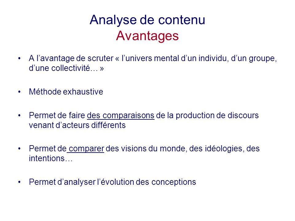 Analyse de contenu Avantages A lavantage de scruter « lunivers mental dun individu, dun groupe, dune collectivité… » Méthode exhaustive Permet de fair