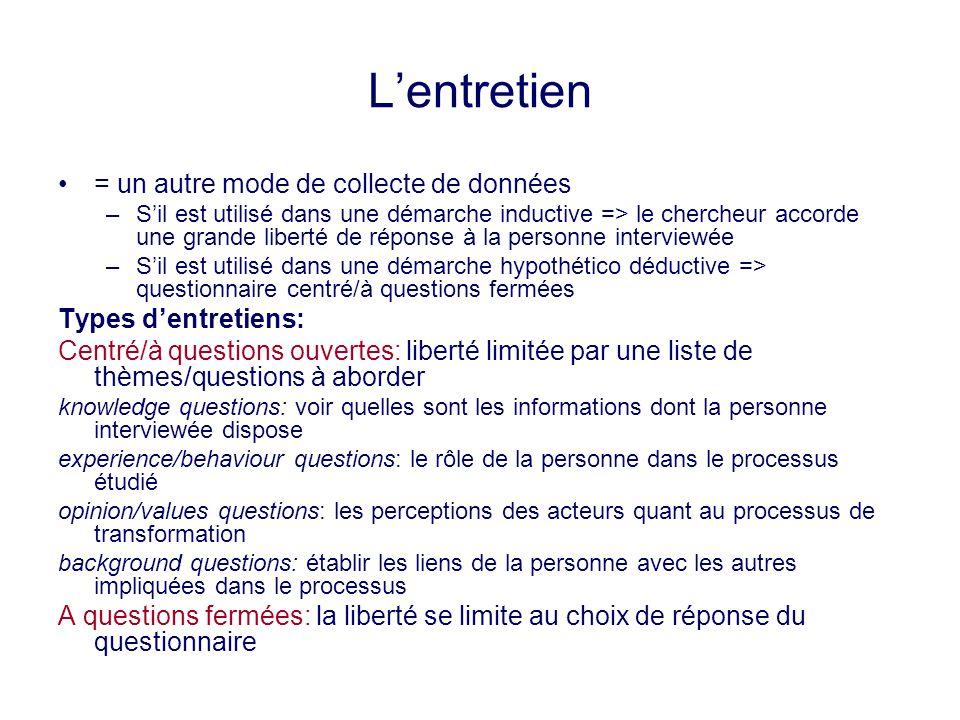 Lentretien = un autre mode de collecte de données –Sil est utilisé dans une démarche inductive => le chercheur accorde une grande liberté de réponse à