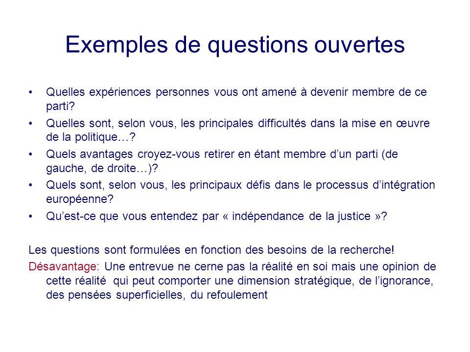 Exemples de questions ouvertes Quelles expériences personnes vous ont amené à devenir membre de ce parti? Quelles sont, selon vous, les principales di